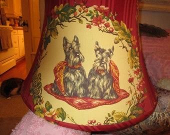 Amazing Large Scotty Dogs and pekingese Lamp shade, Elegant, Fall Colors,French,Traditional,Dog Lover