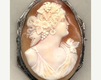 15% DISCOUNT Cameo  Hand Carved Shell Cameo of Bacchantes   Item No: 10496