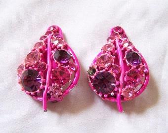 Vintage 1950s Enamel Strawberry Rhinestone Clip earrings