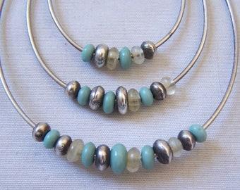 Old Pawn Navajo Sterling Sleeping Beauty Turquoise Multi Hoop Earrings