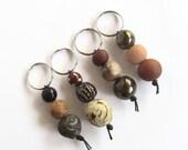 Small handmade gift, Keyring, Bead Keyring, handmade gift, earthy keyrings, earthy colours, token gift, small gift, bead keyring