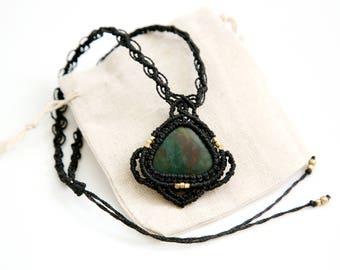 Macrame necklace, macrame jewelry, blood stone necklace, stone necklace , women's jewelry, necklace ,celtic jewelry, ethnic jewelry, tribal