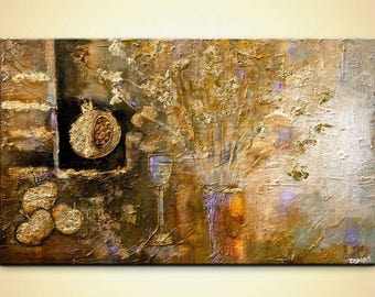 """Canvas Print 40""""x24"""" Stretched Ready-to-Hang  & Embellished  - Abundance - Art by Osnat"""
