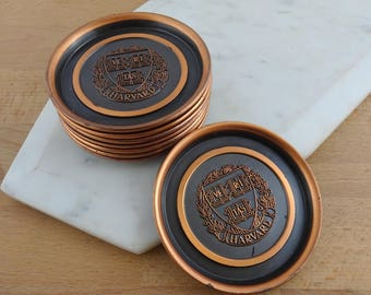 Rare Set of 8 Vintage Copper HARVARD Coasters, Veritas Harvard University, Made by  Hyde Park,