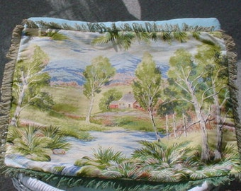 Barkcloth Pillow Fringed Country Scene Rustic Farmhouse Cottage Chic