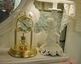 vintage anniversary clock glass birds romantic french country cottage chic - Anniversary Clock