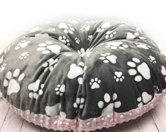 Paw Print Dog Bed, Pet Bed, Soft Dog Bed, Puppy Bed, Round Dog Bed, Round Kitty Bed, Gray And Pink Paw Print Puppy Bed