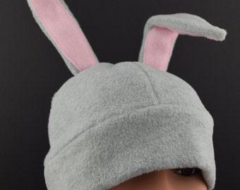 Fleece Bunny Rabbit Hat with Shapeable Ears