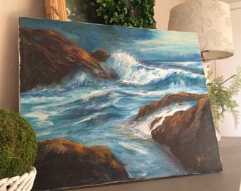 Beautiful Large Seascape Oil on Linen Ocean Oil Painting