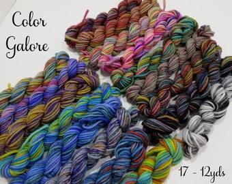 Color Galore - 17 Mini Sock Skeins, 12 yds each, 204 yds total