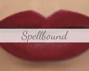 "Vegan Matte Lipstick Sample - ""Spellbound"" (deep burgundy wine red natural lipstick with opaque coverage)"