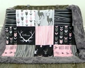 Remainder for Crib Size Blanket - Pink Deer with Graphite Arrow