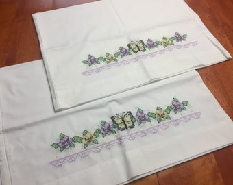 Vintage White Pillowcase set with a butterfly and floral cross stitch design for housewares, bedding, decor by MarlenesAttic
