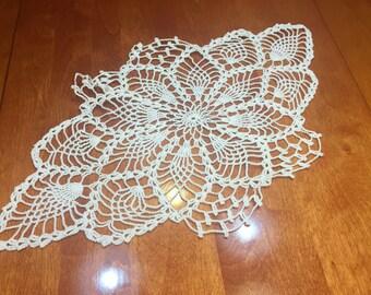 Vintage 20 x 11 inch White hand crochet doily for crafts, shabby chic, housewares, linen, trim, valentines, by MarlenesAttic