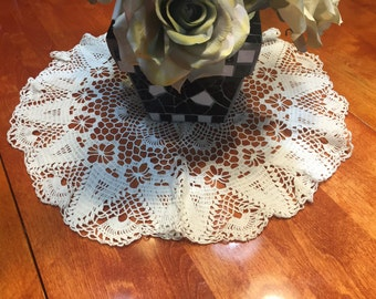 Vintage 20 inch White hand crochet doily for sewing, housewares, handbags, pillows, home decor by MarlenesAttic