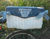 READY TO SHIP - Handwoven Hand Quilted Large Bicycle Pet Basket Blue Elegance
