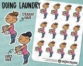 Tan Skin Laundry Girl Plus Size Curvy Planner Stickers, Latina Hispanic Mixed - Erin Condren, Happy Planner, Filofax, Decorative, Miss Moss