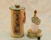 French Ladys perfume in a round historic box OOAK Dollhouse scale 1/12