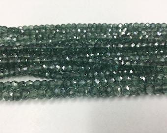 Green Mystic Quartz Rondelles Faceted