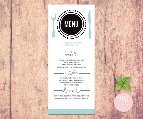 Plated Collection Wedding Menu, Shower Menu, Dinner Menu, Event Menu printable or printed - Lovely Little Party - You Choose Color
