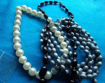 3 Vintage necklaces 4 strand all different in excellent  condition..!.