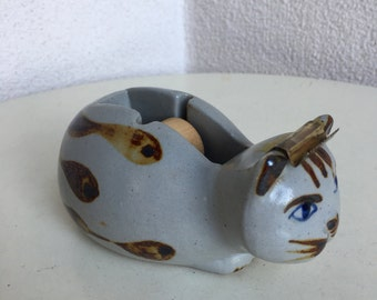Vintage kitsch ceramic Cat tape dispenser Made in Japan