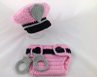 Baby Police Outfit - Police Baby Girl - Police Baby Shower - Diaper Cover Set - Photography Prop - Newborn - Baby Shower Gift - Pink