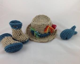 Newborn Fishing  Hat 4 pc Set w/Boots/Waders & Fish - Newborn - 0-3 months - Photography Prop - Baby Shower Gift