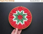 ON SALE Vintage Christmas Quilted Sampler // Retro Fabric Handmade Handcrafted Wall Hanging Christmas Decoration Holiday Ornament Geometric