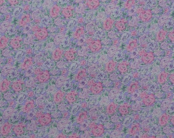 Vintage Floral Fabric, Cotton Floral Fabric Remnant, Cotton Quilting Fabric, Cotton Fabric, Pink Floral Fabric - 1 1/3 Yard - CFL2077