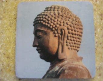 Set of 4 Buddha Head Coasters, Zen Decor, Wood & Cork Coasters, Zen Bar Decor
