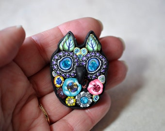 Swarovski Crystal Owl Pin with Leaf Ears, Bright, Sparkly, Bling, Mille Fiori, OOAK, Brooch, Jewelry