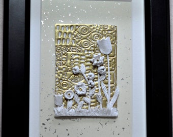 Original Art - Klimt Inspired Garden and Gold in a Shadow Box, Polymer Clay