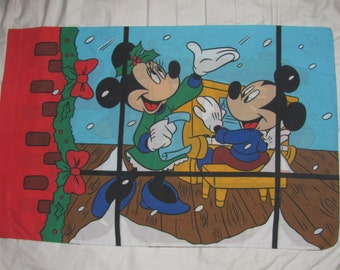 Vintage Disney Christmas Micky & Minnie Mouse Carolling - Twin/Standard Pillow Case - Pluto Sings Along - Stockings Hung with Care