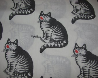 Vintage B. Kliban Cat Twin Size Flat Sheet - Seated Cat with Red Lipstick Kiss on Cheek - Black, White Red Bedsheet with Kitty Art