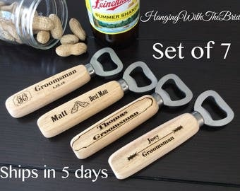 Set of 7 Personalized Bottle Opener, Groomsmen Gift, Wedding Gift, Engraved Wood opener, Custom Bottle Opener, Christmas gifts