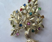Tree of Life Brooch Pin Marked Dodd's Goldtone 14 Multicolored Rhinestones Valentine's Day Mother's Day Gift