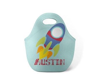 Personalized Lunch Tote - Rocket Ship - Custom Lunch tote for Children