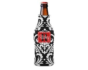 Personalized Bottle Insulator, Black Damask- DIY Custom Bottle Insulated Beverage Container