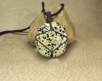 Dalmation Jasper Pendant - Black and White Pendant - Optimism Combat Apathy Grounding Mother Earth Reiki Infused Energy Jewelry