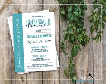 Rehearsal Dinner Invitation - Fun Printable Wedding Rehearsal Invitation - Turquoise and Marine Blue - Custom Colors