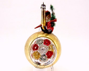 Double Indent Scrap Santa Christmas Ornament German Vintage Glass Reflector Christmas Decoration