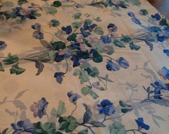 Beautiful Flowered Fabric Blue Sweet Peas