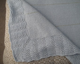 "Hand Knit Blanket, Alpaca Angora Wool, 70 x 67"", Blue Gray Stripes, Queen Bed Topper, Extra Large Afghan Throw"