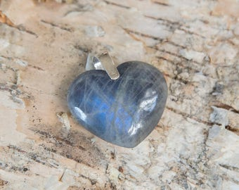 Blue labradorite heart pendant, heart of the ocean, natural untreated labradorite, blue white labradorite sterling silver