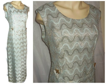 Vintage Long Dress 1960s Metallic Geometric Pattern Maxi Dress Rhinestones Gold Light Blue Long Dress Pop Mod Evening Gown L XL chest 44