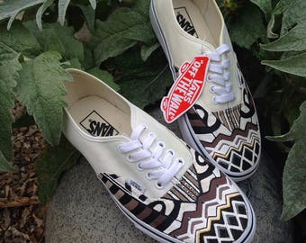 Men's African Print White Shoes