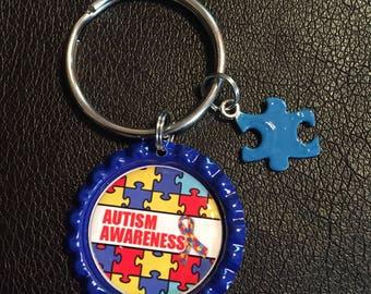 Autism Awareness Bottle Cap Key Chain