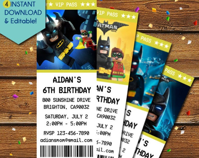 Featured listing image: Lego Batman Invitations, Lego Batman Birthday Invitation, Lego Batman Ticket Invitations, Lego Batman Party Invite, Lego Batman Movie