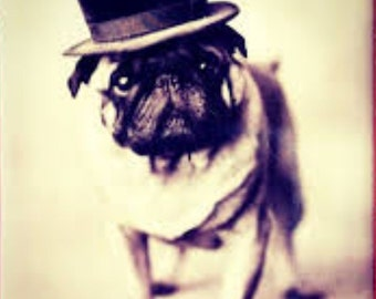 Pug Wearing Top Hat Print  Decoupaged on Wood